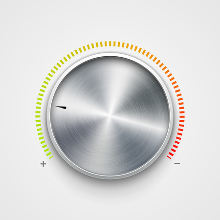 Illustration for Volume button metal texture steel chrome. Music knob sound level. Sound panel tuner interface. - Royalty Free Image