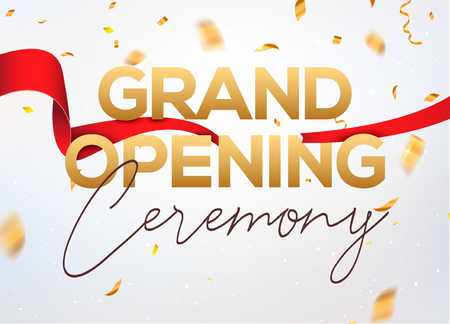 Illustration for Grand Opening ceremony poster concept invitation. Grand opening event decoration party template. - Royalty Free Image