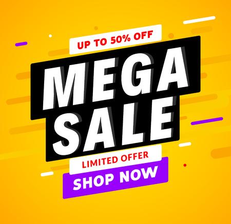 Illustration pour Mega Sale banner template design. Big sale special offer promotion discount for business. - image libre de droit