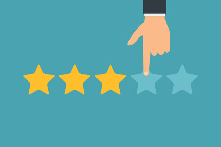 Illustration pour Hand and five stars customer rating. Business success five stars rating feedback ranking opinion. - image libre de droit