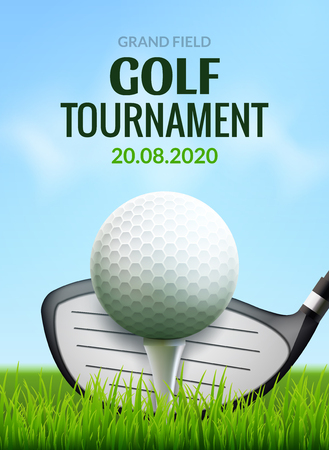 Illustration pour Golf tournament poster template flyer. Golf ball on green grass for competition. Sport club vector design. - image libre de droit