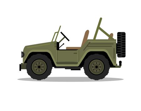 Ilustración de Military army car jeep vehicle. Humvee vector hummer cartoon flat safari oddroad truck illustration - Imagen libre de derechos