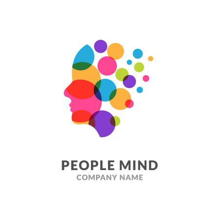 Illustration for Human head face logo, creative brain man. Digital profile face innovation intelligence mind design logo - Royalty Free Image