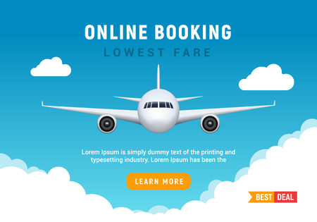 Ilustración de Flight travel trip banner for online booking. Vector Airplane ticket online sale design promo template - Imagen libre de derechos