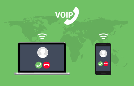 Voip call system voice phone technology. Voice over ip internet video telephony data cloud laptop and mobile cellphone