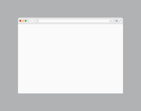 Illustration pour Web browser window. Computer or internet frame template design of flat page mockup. Blank screen web browser - image libre de droit