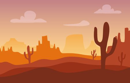 Illustration for Desert sunset silhouette landscape. Arizona or Mexico western cartoon background with wild cactus, canyon mountain. - Royalty Free Image