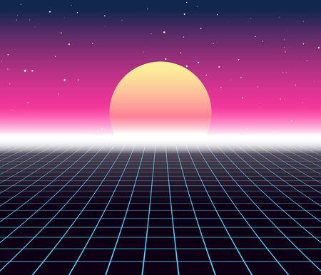 Illustration pour Synth wave retro grid background. Synthwave 80s vapor vector game poster neon futuristic laser space arcade - image libre de droit