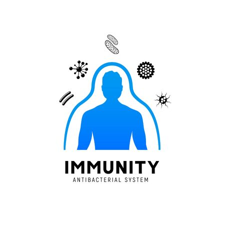 Illustration pour Immune system vector icon logo. Health bacteria virus protection. Medical prevention human germ - image libre de droit