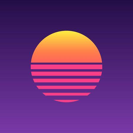 Illustration pour 80s sunset retro neon background. 90s poster electro sun space vintage grid sunset icon - image libre de droit