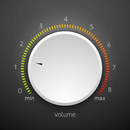 Illustration for Volume music control knob icon panel. Audio knob element interface. - Royalty Free Image