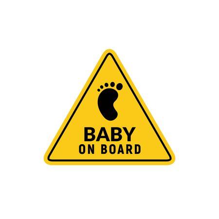 Illustration pour Baby on board sign icon. Child safety sticker warning emblem. Baby safety design illustration - image libre de droit
