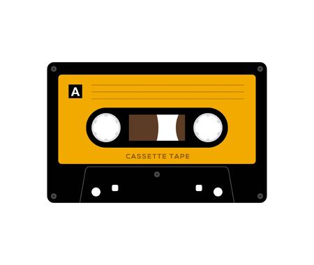 Illustration for Audio cassette tape isolated vector old music retro player. Retro music audio cassette 80s blank mix - Royalty Free Image