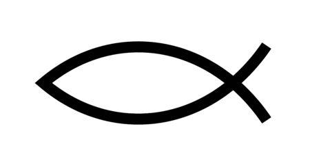 Ilustración de Christian fish symbol. Jesus fish icon religious sign. God Christ logo illustration - Imagen libre de derechos