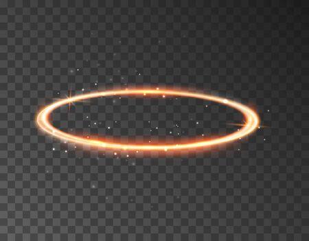 Illustration for Angel halo ring saint aureole icon. Holy ring angel halo isolated nimbus gold circle realistic element. - Royalty Free Image