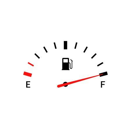 Ilustración de Fuel indicators gas meter. Gauge vector tank full icon. Car dial petrol gasoline dashboard - Imagen libre de derechos