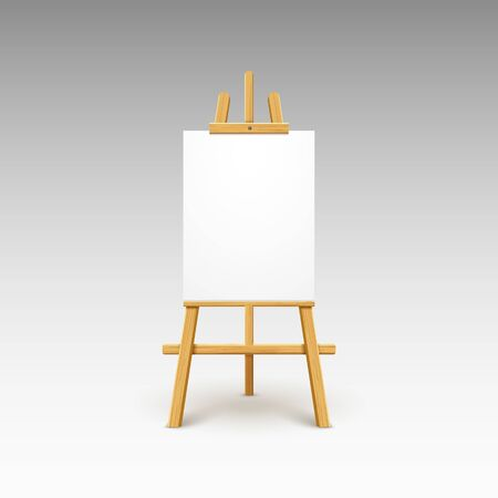 Illustration pour Wooden easel canvas board isolated stand. Blank empty vector easel poster billboard - image libre de droit