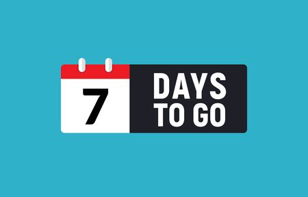 Ilustración de 7 days to go last countdown icon. Seven day go sale price offer promo deal timer, 7 day only. - Imagen libre de derechos