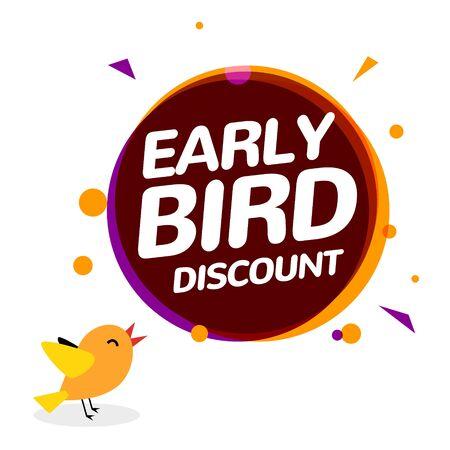 Illustration pour Early bird discount vector special offer sale icon. Early bird icon cartoon promo sign banner - image libre de droit