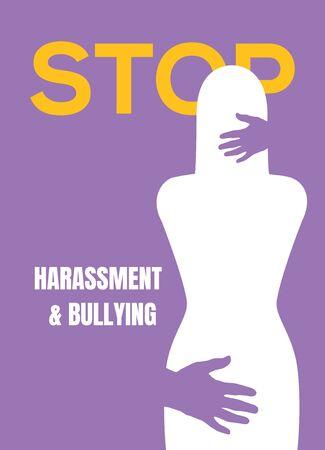 Illustration pour Sexual harassment violence stop poster. Sexual harassment assault woman concept. - image libre de droit