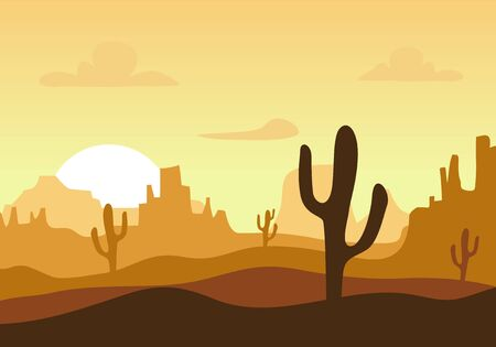 Illustration for Desert sunset silhouette landscape. Arizona or Mexico western cartoon background with wild cactus, canyon mountain - Royalty Free Image