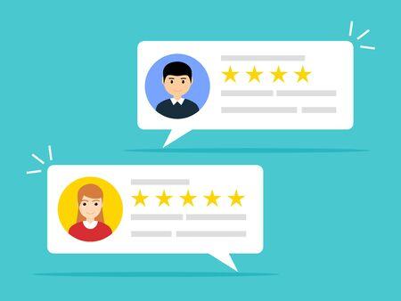 Illustration pour User reviews online. Customer feedback review experience rating concept. User client service message. - image libre de droit