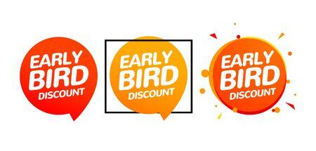 Illustration pour Early bird discount vector special offer sale icon set. Early bird icon cartoon promo sign banner. - image libre de droit