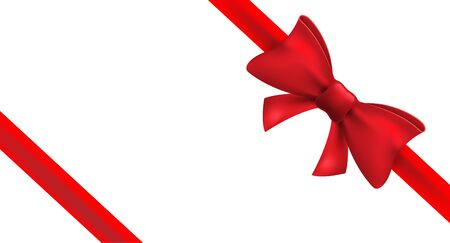 Illustration pour Red ribbon with red bow. Vector isolated bow decoration for holiday present. Gift element for card design. - image libre de droit