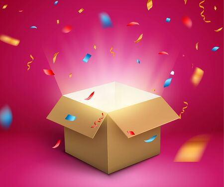 Illustration for Gift box confetti explosion. Magic open surprise gift box package decoration. - Royalty Free Image