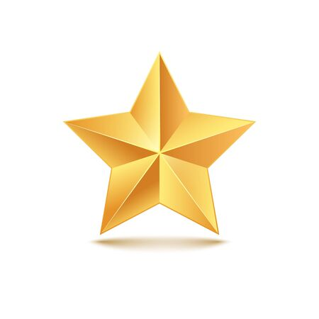 Illustration pour Golden star vector 3d illustration. Gold medal star isolated decoration icon - image libre de droit
