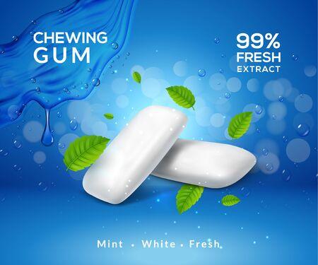 Illustration pour Mint chewing gum vector background fresh breath smell. Chewing gum product package template. - image libre de droit