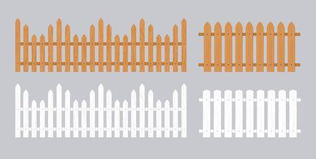 Illustration pour Wooden fence illustration. Farm wood wall yard, cartoon garden. Timber gate background pattern - image libre de droit