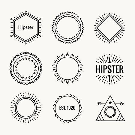 Illustration for Geometric hipster vintage logo shape icon. Hipster cafe logo badge art vector element - Royalty Free Image