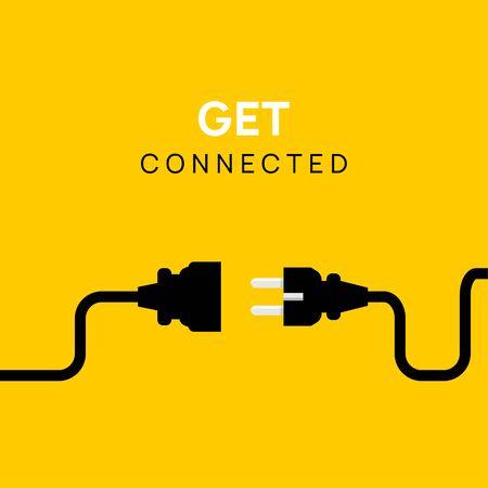 Illustration pour Electric Plug connect concept socket. Get connected or disconnect vector power plug cable illustration. - image libre de droit