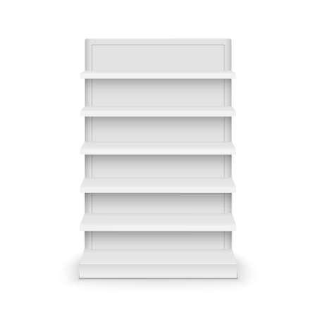 Illustration pour Shelf store supermarket mockup stand. Retail shelf display empty vector rack shelves - image libre de droit