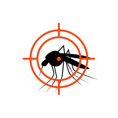 Illustration pour Repellent mosquito stop aim sign icon. Malaria pest insect anti mosquito warning symbol - image libre de droit