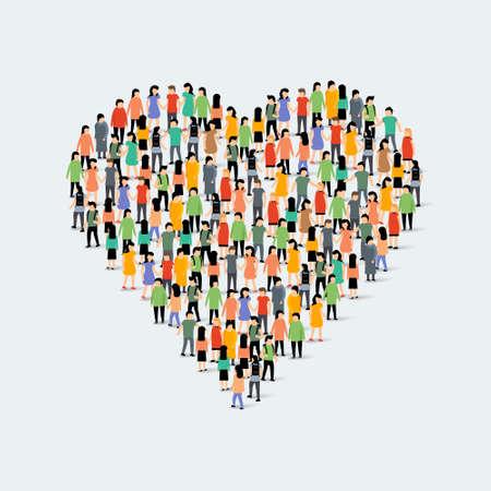 Illustration pour People community heart shape. Group love crowd people - image libre de droit