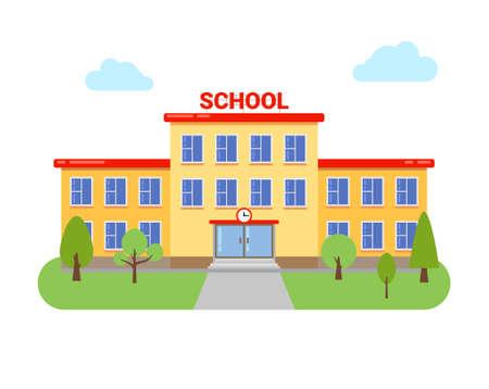 Illustration pour School university building vector elementary high cartoon campus flat school building illustration - image libre de droit