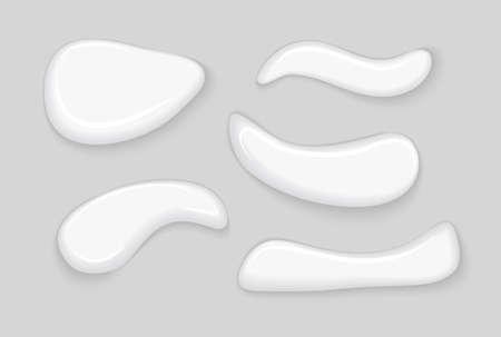 Illustration pour Cosmetic gel smear cream white lotion isolated. Creamy drop skincare gel face beauty product liquid - image libre de droit