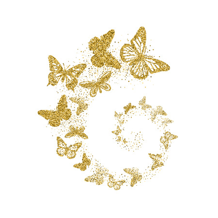 Ilustración de Golden glitter butterflies fly in spiral on white background. Beautiful gold silhouettes with different shapes wings. For invitation, fashion, decorative abstract design elements. Vector illustration. - Imagen libre de derechos