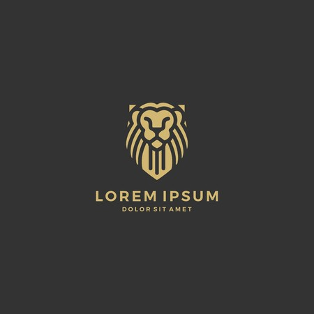 Lion Shield Logo Vector Icon Line Art Outline Download Gold On Black Royalty Free Vector Graphics Takes a while but worth it. clipdealer