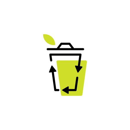 recycle bin leaf organic logo icon organic line outline monoline color fill style