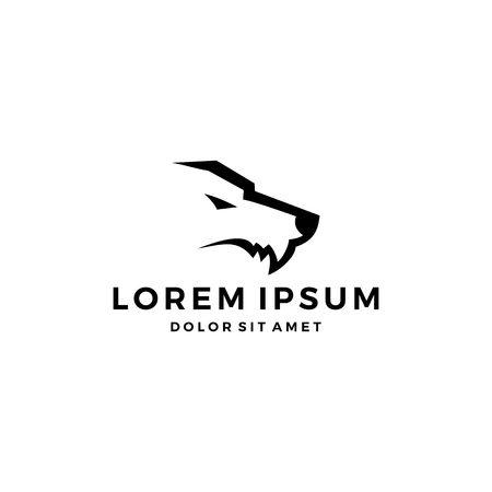 Illustration pour wolf head fang logo icon simple minimal minimalist - image libre de droit