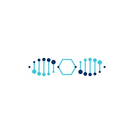 dna honeycomb helix hexagon logo vector icon illustration