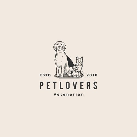 Illustration for dog cat pet lover logo hipster vintage old hand drawing vector illustration - Royalty Free Image