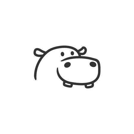 Ilustración de hippo logo line outline mascot character - Imagen libre de derechos