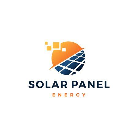 Ilustración de solar panel energy electric electricity logo vector icon - Imagen libre de derechos