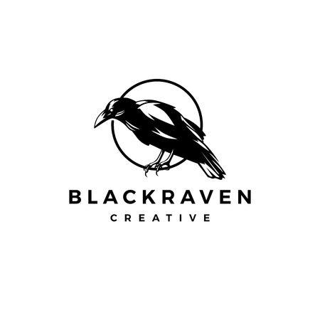 Illustration pour black raven crow logo vector icon illustration - image libre de droit