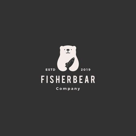 Illustration pour bear fish salmon logo hipster retro vintage vector icon illustration - image libre de droit