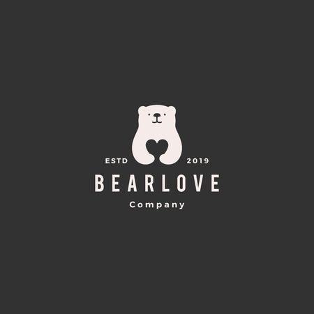 Illustration pour bear love logo hipster retro vintage vector icon illustration - image libre de droit
